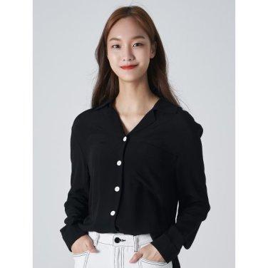 여성 블랙 솔리드 버튼업 오픈 칼라 셔츠 (169864HY15)