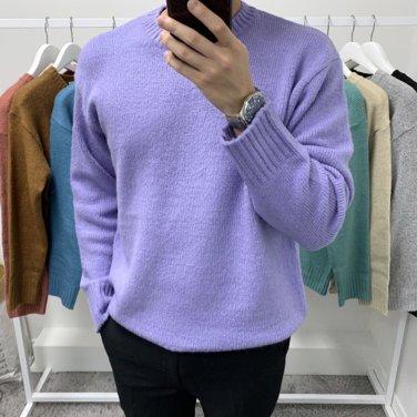 남성 가을 겨울 앙고라 라운드넥 니트 스웨터
