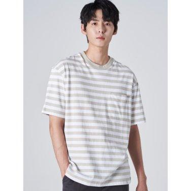 남성 베이지 솔리드 스트라이프 포켓 반소매 티셔츠 (429742DY2A)