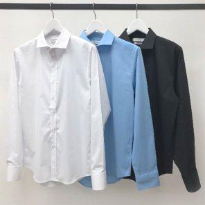 남성 구김방지 와이드카라 솔리드 셔츠_SH0159