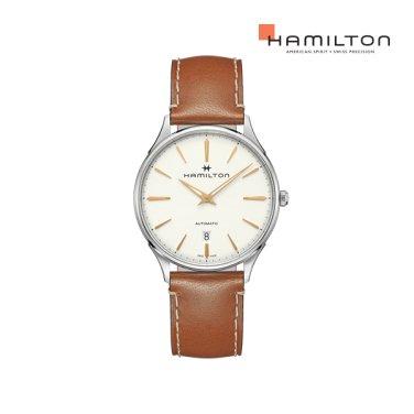 H38525512 재즈마스터 씬라인 오토 화이트 다이얼 브라운 스트랩 남성 시계