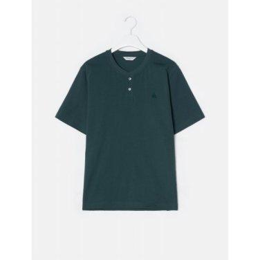 그린 코튼 베이직 헨리넥 반소매 티셔츠 (BC9342A30M)
