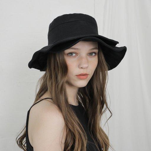 Double brim wide hat - black