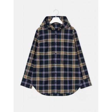 [GREEN BEANPOLE] 네이비 체크 브러시드 후드 셔츠 (BF9964N02R)