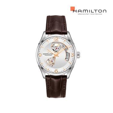 H32705551 재즈마스터 오픈하트 42mm 실버/브라운 가죽 남성 시계