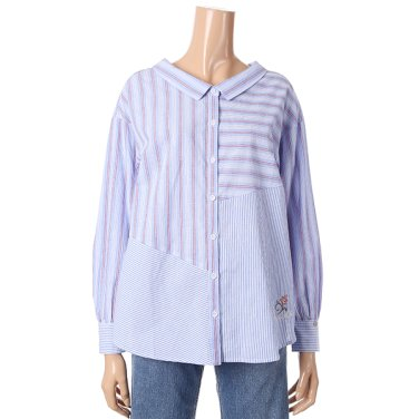 [여성]스트라이프 믹스 셔츠 블라우스(T192MBL160W)