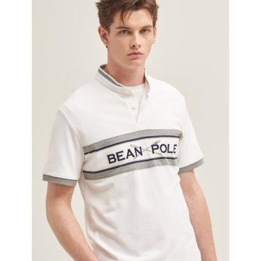 화이트 컬러 블록 빅로고 헨리넥 티셔츠 (BC9342A381)