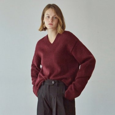 [DEANS] V PULLOVER SWEATER_WINE