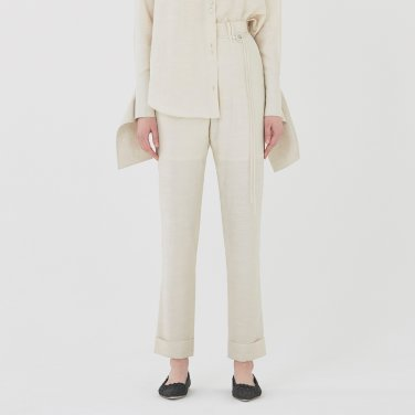 19SS STRAIGHT-FIT CUFFED TROUSERS - LIGHT OATMEAL