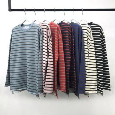 남성 캐주얼 단가라 라운드 배색 넥테이프 티셔츠_T0404