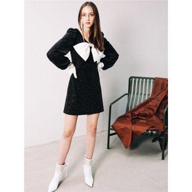 [더애쉴린]MILA BIG BOW GLITTER DRESS