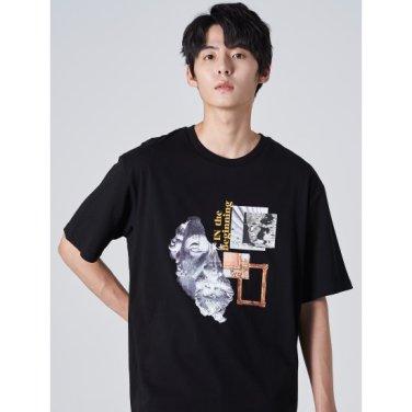 남성 블랙 솔리드 코튼 그래픽 반소매 티셔츠 (269742DY35)
