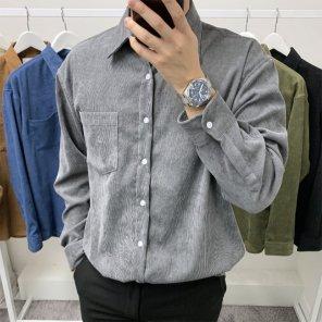 남성 폴리 코듀로이 골덴 오버핏 원포켓 셔츠_SH0153