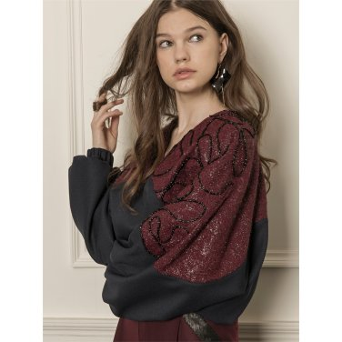 [까이에] Color block shiny blouse