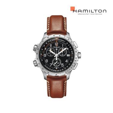 H77912535 카키 엑스윈드 크로노 쿼츠 GMT 블랙 가죽 남성 시계