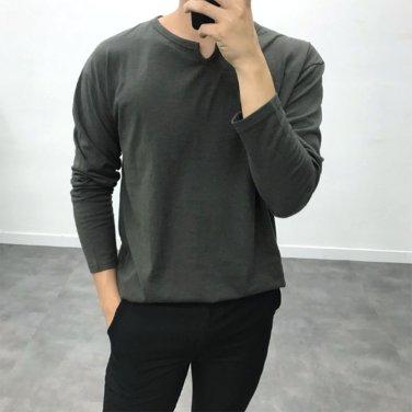 남성 데일리 앞 트임 가을 브이 긴팔 티셔츠_T0425