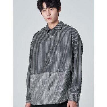 남성 블랙 배색 포인트 스트라이프 언밸런스 셔츠 (269764DY15)
