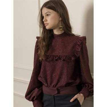 [까이에] Voluminous sleeves shiny ruffle blouse