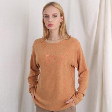 자수 로고 넥 포인트 긴팔티셔츠 오렌지