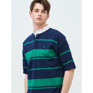 [Online Exclusive] Unisex 그린 럭비 스트라이프 헨리넥 티셔츠 (BC9342N12M)
