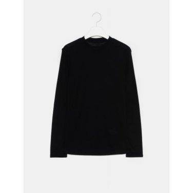여성 블랙 솔리드 베이직 라운드넥 티셔츠 (329841LY55)