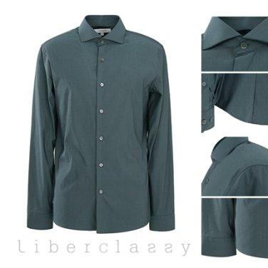 리버클래시(DJ) 다크그린 와이드카라 스판 슬림핏 셔츠 LFW31306