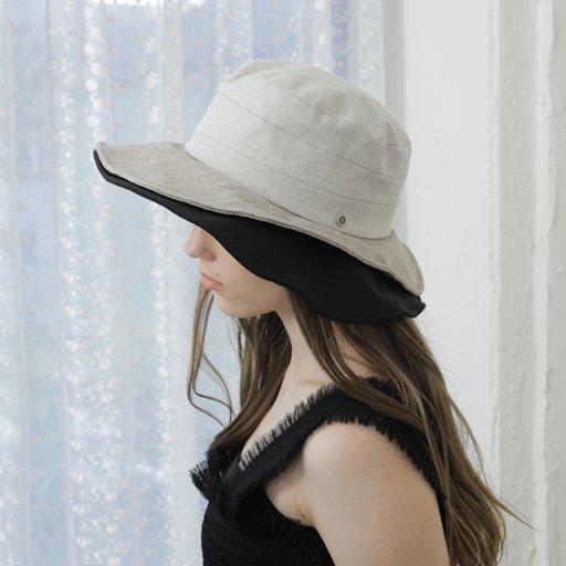 Double brim wide hat - Ivory mix