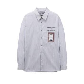 네이비 이그나시 아트웍 와펜 멀티 스트라이프 셔츠 JNSH0B602N2