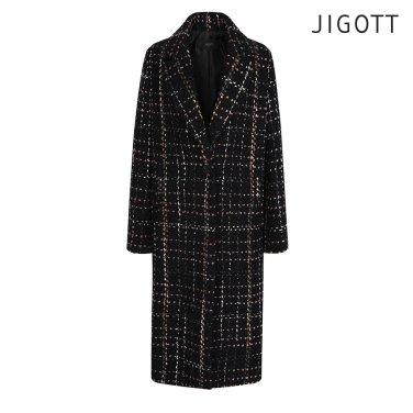 울 체크 코트형 자켓 JIAE0JK12