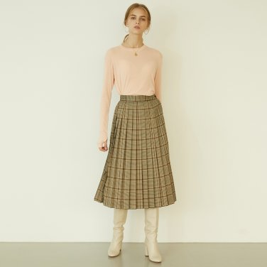 P Check Pleats Skirt_BE