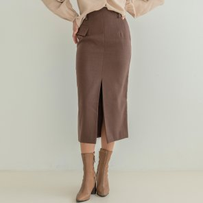 Napping Pencil Flap Skirt Brown (2019WSK320_02)