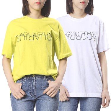 면 레터링 크루넥 티셔츠 2F1J4TTO930W