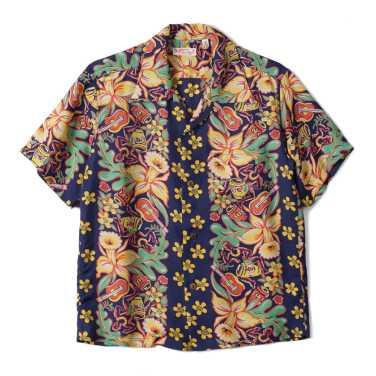 SUN SURF Rayon Hawaiian Shirt Orchid And Hawaiian Tradition Navy