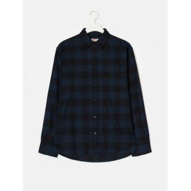 남성 네이비 깅엄체크 플란넬 포켓 셔츠 (458864WY7R)