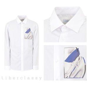 리버클래시(DJ) 화이트 아트웍 포인트 세미루즈핏 셔츠 LFW31373