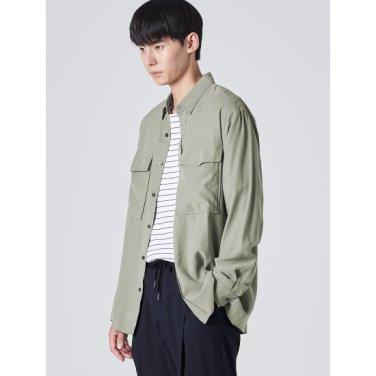 남성 카키 솔리드 트윌 빅 포켓 셔츠 (429864CY2H)