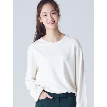 여성 아이보리 언밸런스 베이직 티셔츠 (358841CY10)