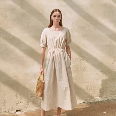 LINEN SQUARE LONG DRESS_OATMEAL