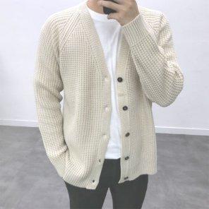 남성 캐주얼 와플 오버핏 교복 데일리 가디건_JK0146