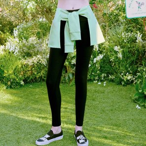 (LS-20163) TIED-UP LEGGINGS LIME
