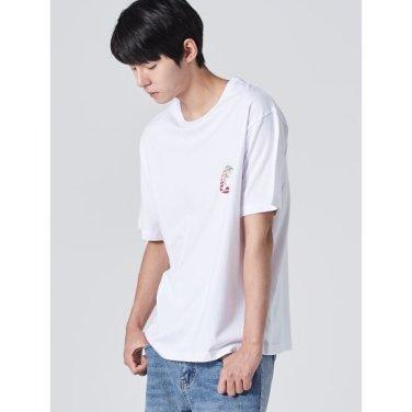 남성 [라이온킹] 화이트 코튼 프린팅 반소매 티셔츠 (429742LX31)
