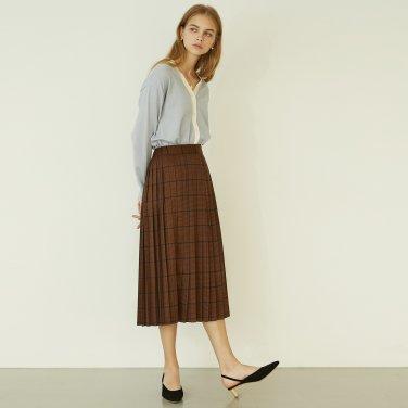 P Check Pleats Skirt_BW