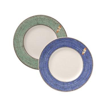 사라스가든 18cm 접시 2p (블루/그린)