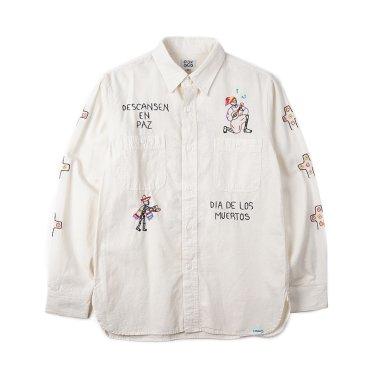 OAXACA Chambray Embroidery Shirt White