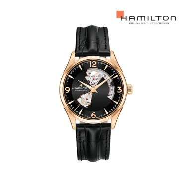 H32735731 재즈마스터 오픈하트 42mm 블랙 PVD 가죽 남성 시계