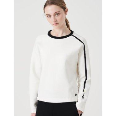 화이트 여성 테크플리스 배색 티셔츠 (BO9941E011)