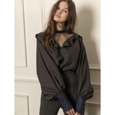 [까이에] V-neck mesh voluminous sleeves blouse