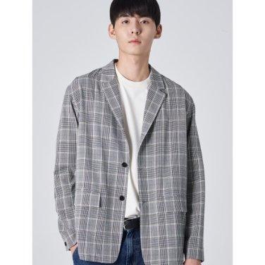 남성 그레이 컬러 포인트 체크 셔켓 (219839CY23)