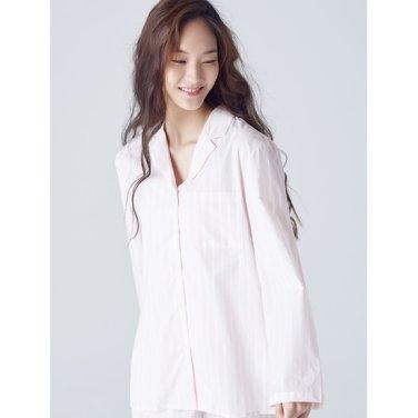 여성 [파자마 시리즈] 라이트 핑크 스트라이프 코튼 파자마 셔츠 (158864SYAY)