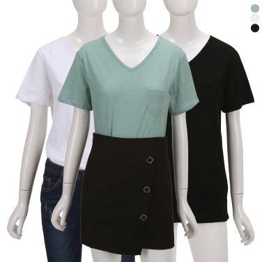 가슴 포켓 브이넥 슬럽 티셔츠ZW9ME3010